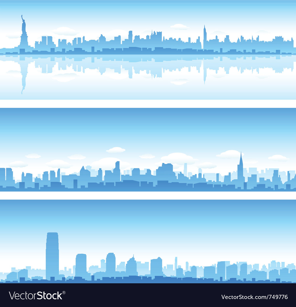 Cityscapes silhouettes background vector image