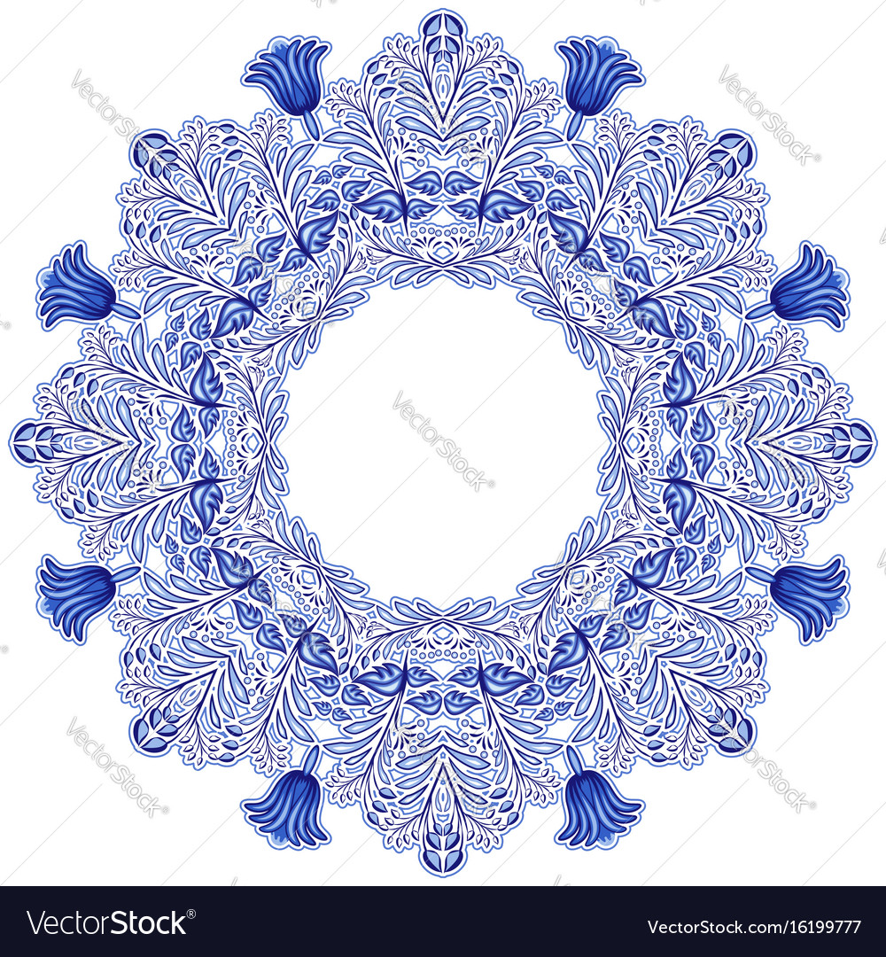 Circular ornament in gzhel style blue floral vector image