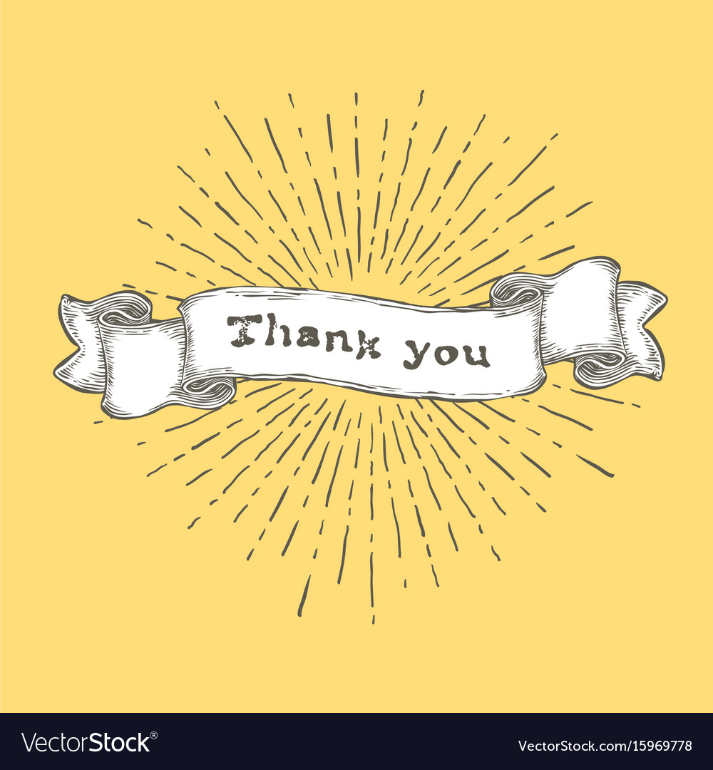 Thank you thank you text on vintage hand drawn vector image