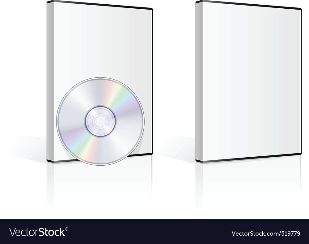 Dvd case and disk on white background vector image