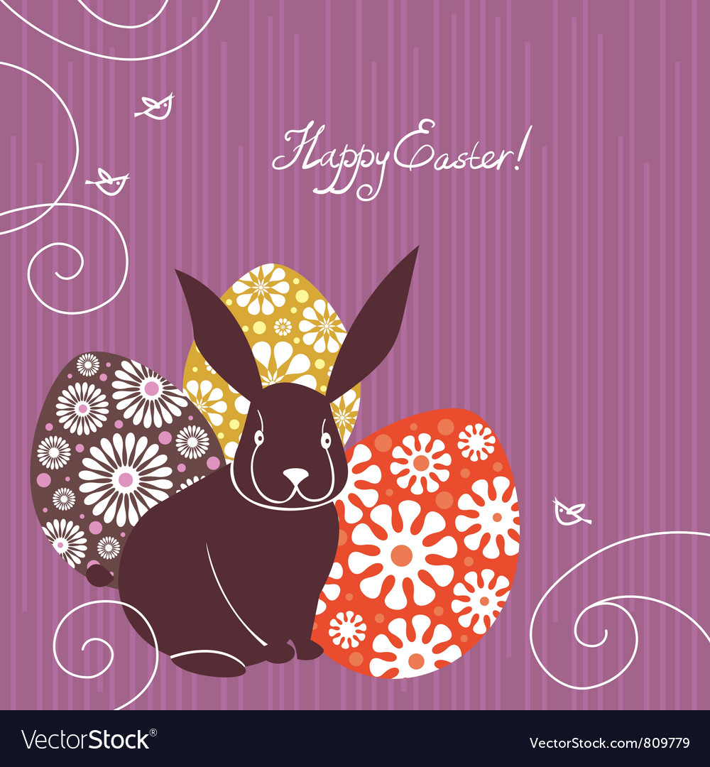 Background with Easter rabbit and eggs vector image
