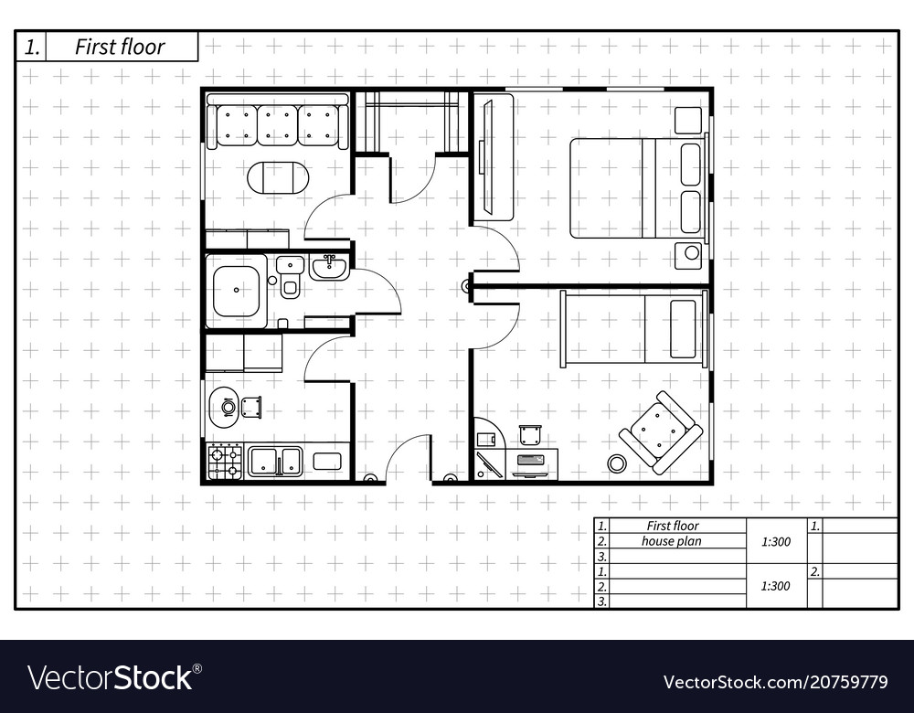 Black architecture plan of house in blueprint vector image malvernweather Choice Image