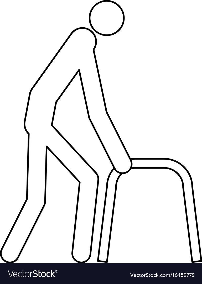 Sick man black color icon vector image