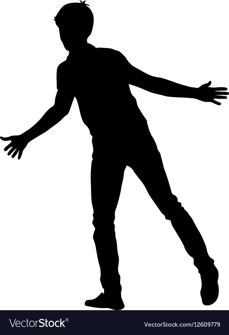 Silhouette man with divorced his hands to the vector image