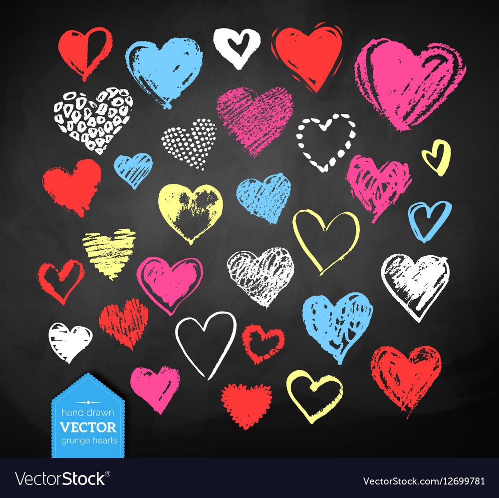 Chalk drawn Valentine hearts vector image