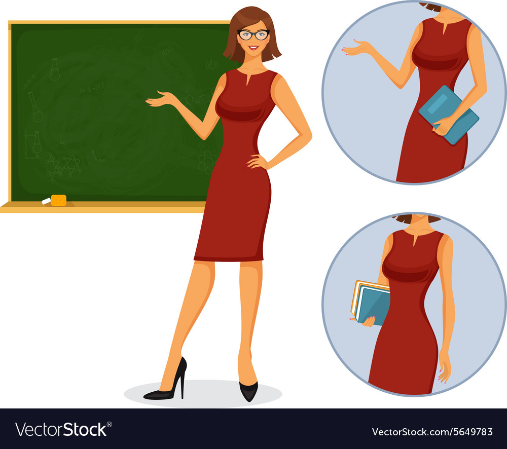 Female teacher with blackboard vector image