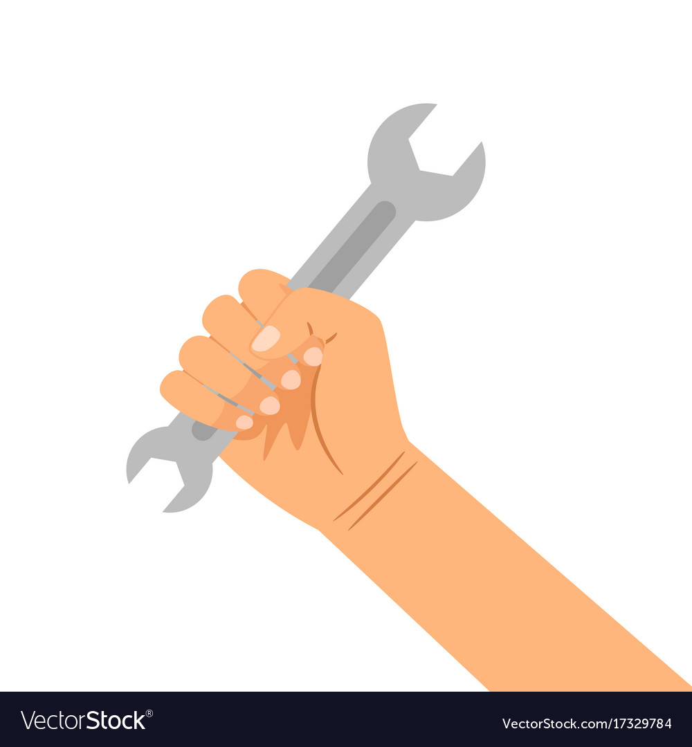 Hand with wrench isolated on white vector image