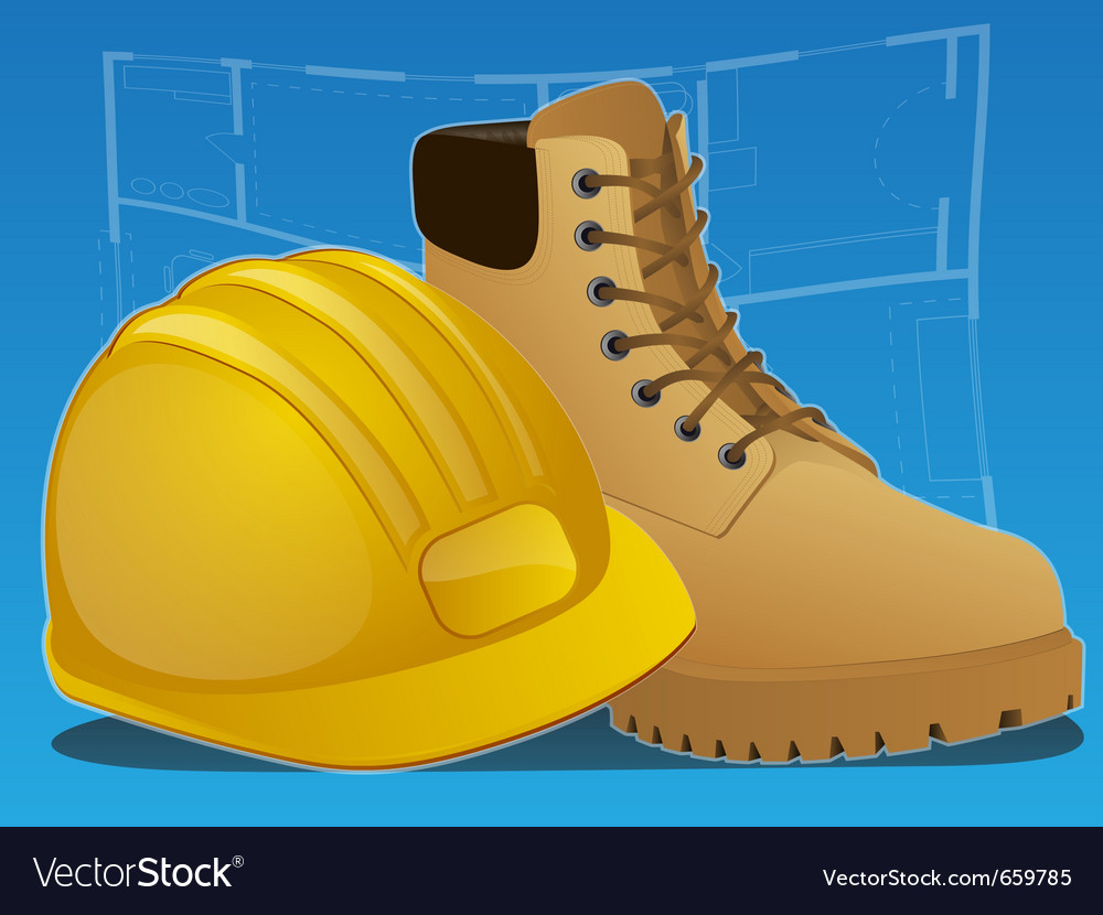 Hardhat and work boots Vector Image