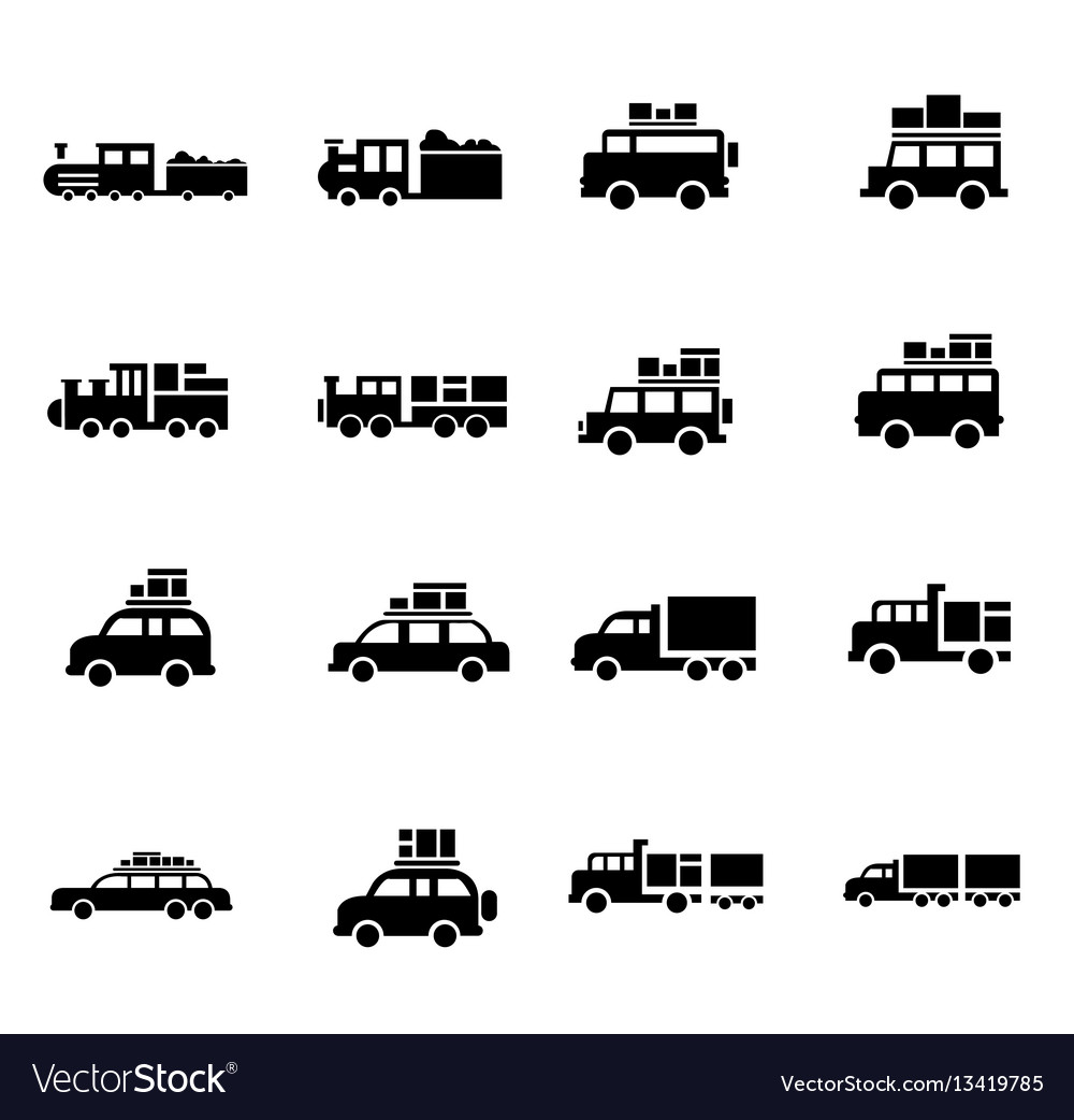 Carand train logistics and transport icons vector image