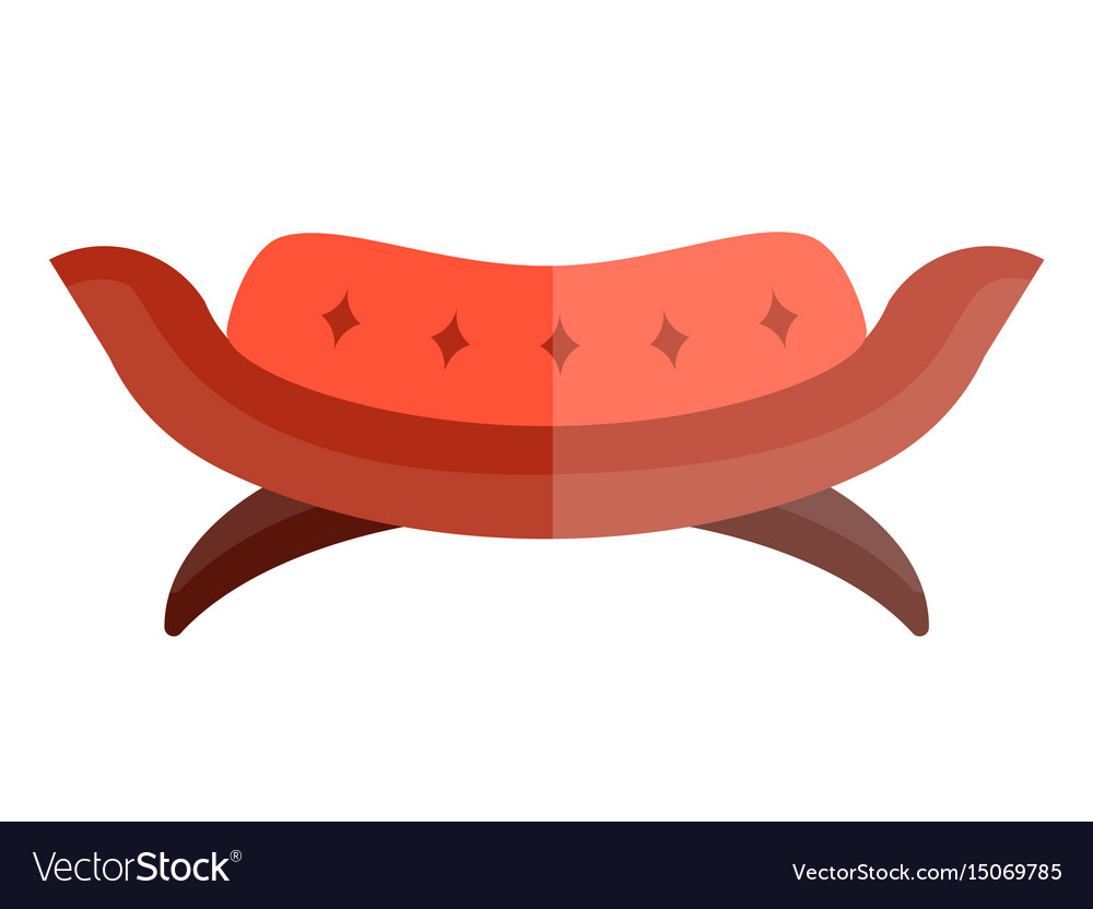 Red modern sofa in circular shape on legs isolated vector image