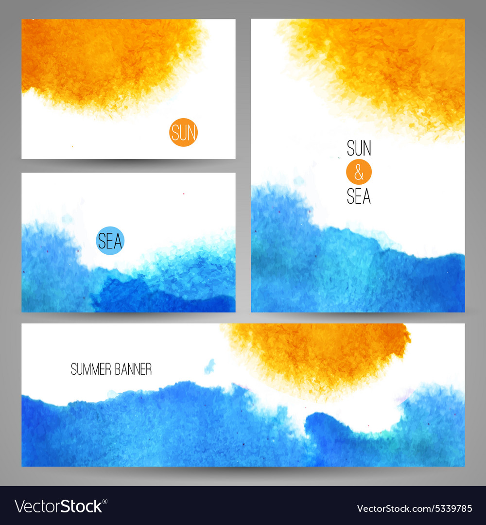 Watercolor sea background poster or card template vector image