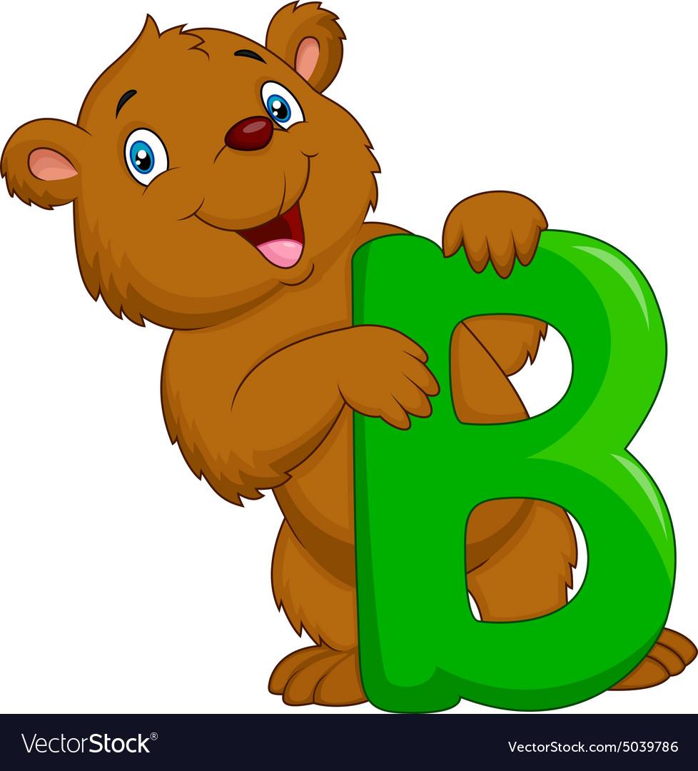 Alphabet B with bear cartoon Royalty Free Vector Image