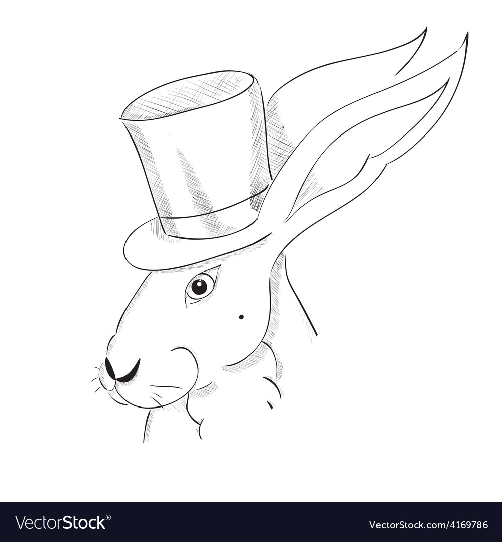 Hand drawn portrait of rabbit in a tall hat vector image