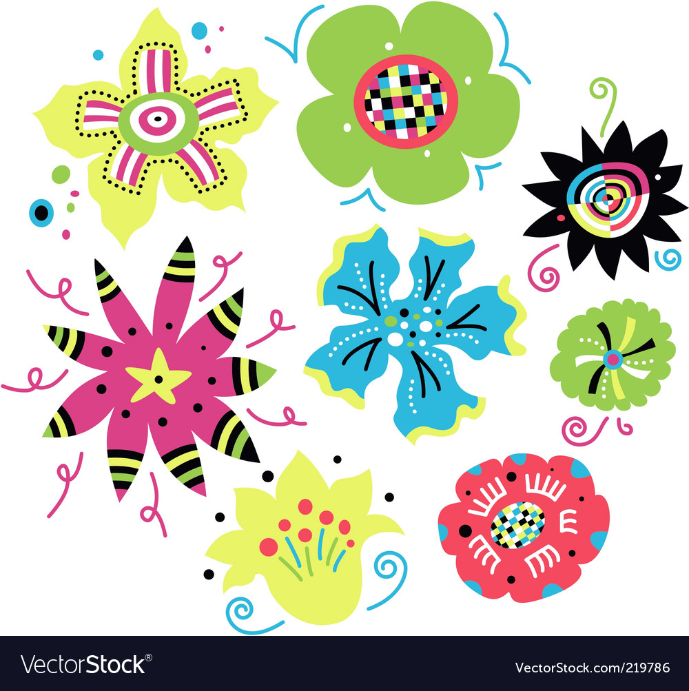 Set of funky flowers vector image
