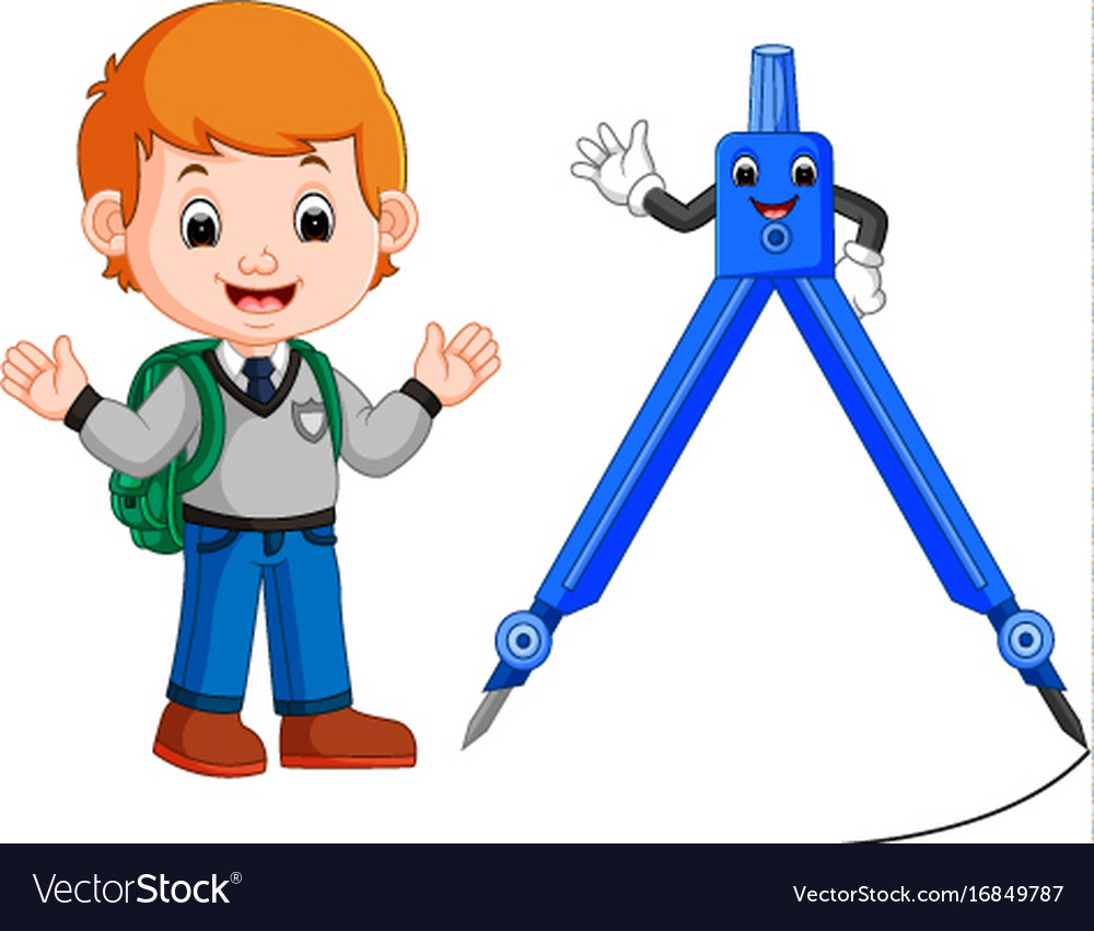 Boy With Architecture Compass Character Vector Image