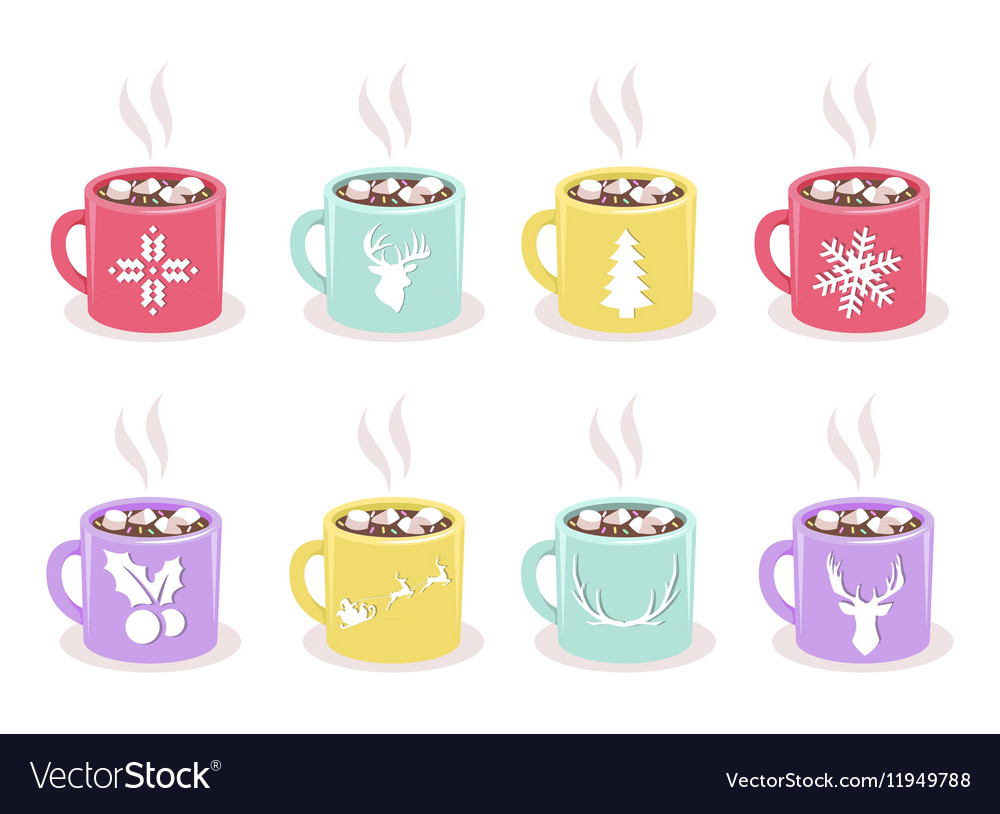 Set of mugs with cocoa marshmallow winter vector image