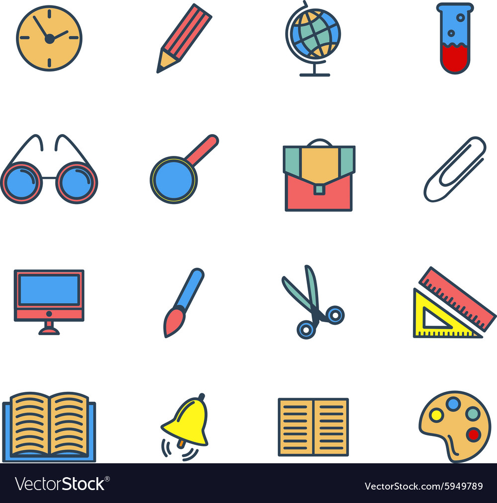 Color set of line icons Back to school vector image