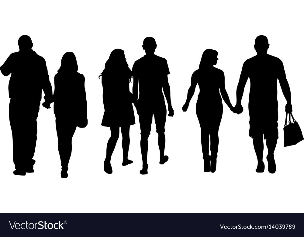 Set of people holding hands vector image