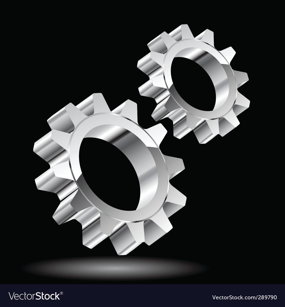 Chrome gears vector image