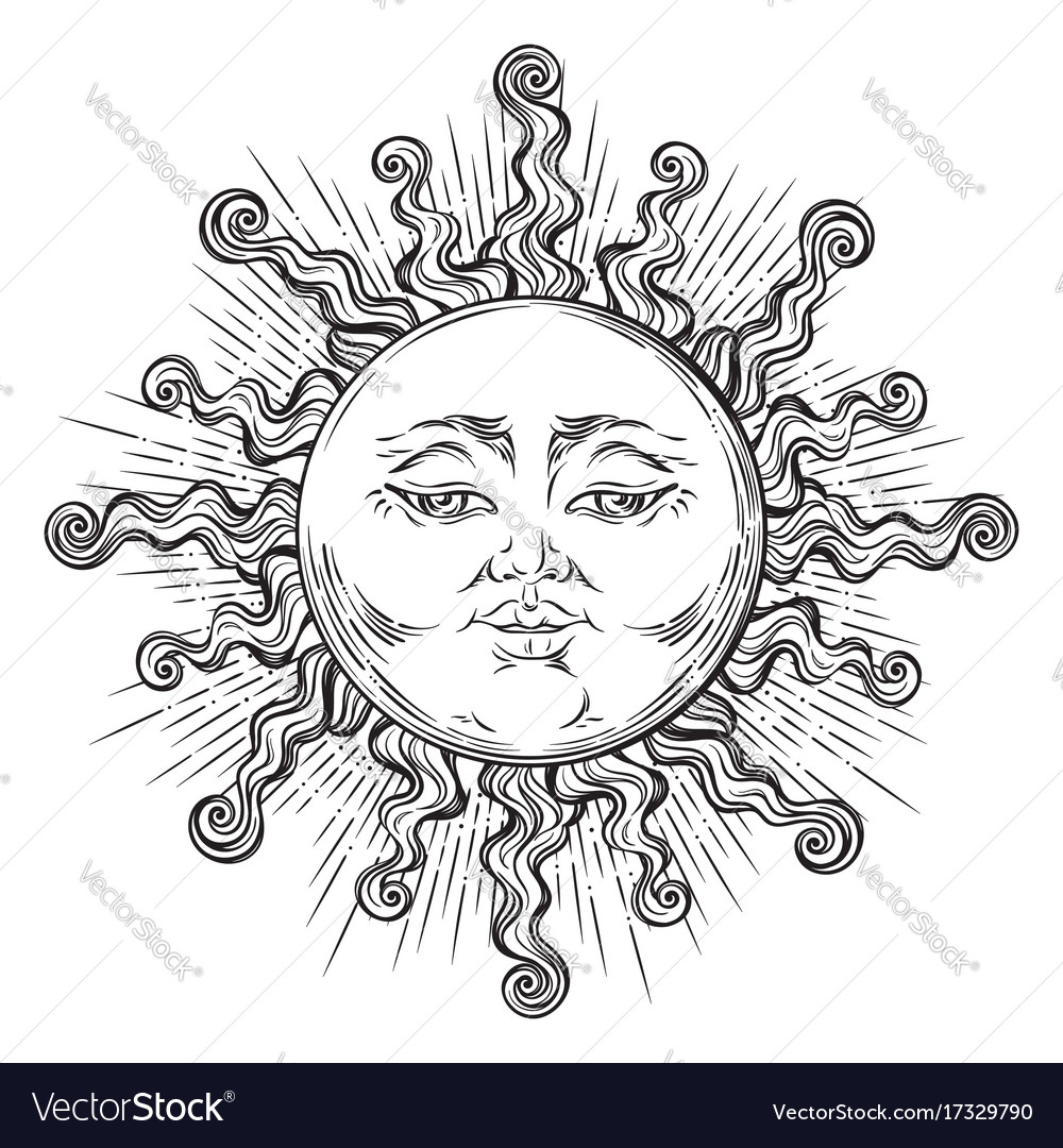Antique style hand drawn art sun boho chic tattoo vector image