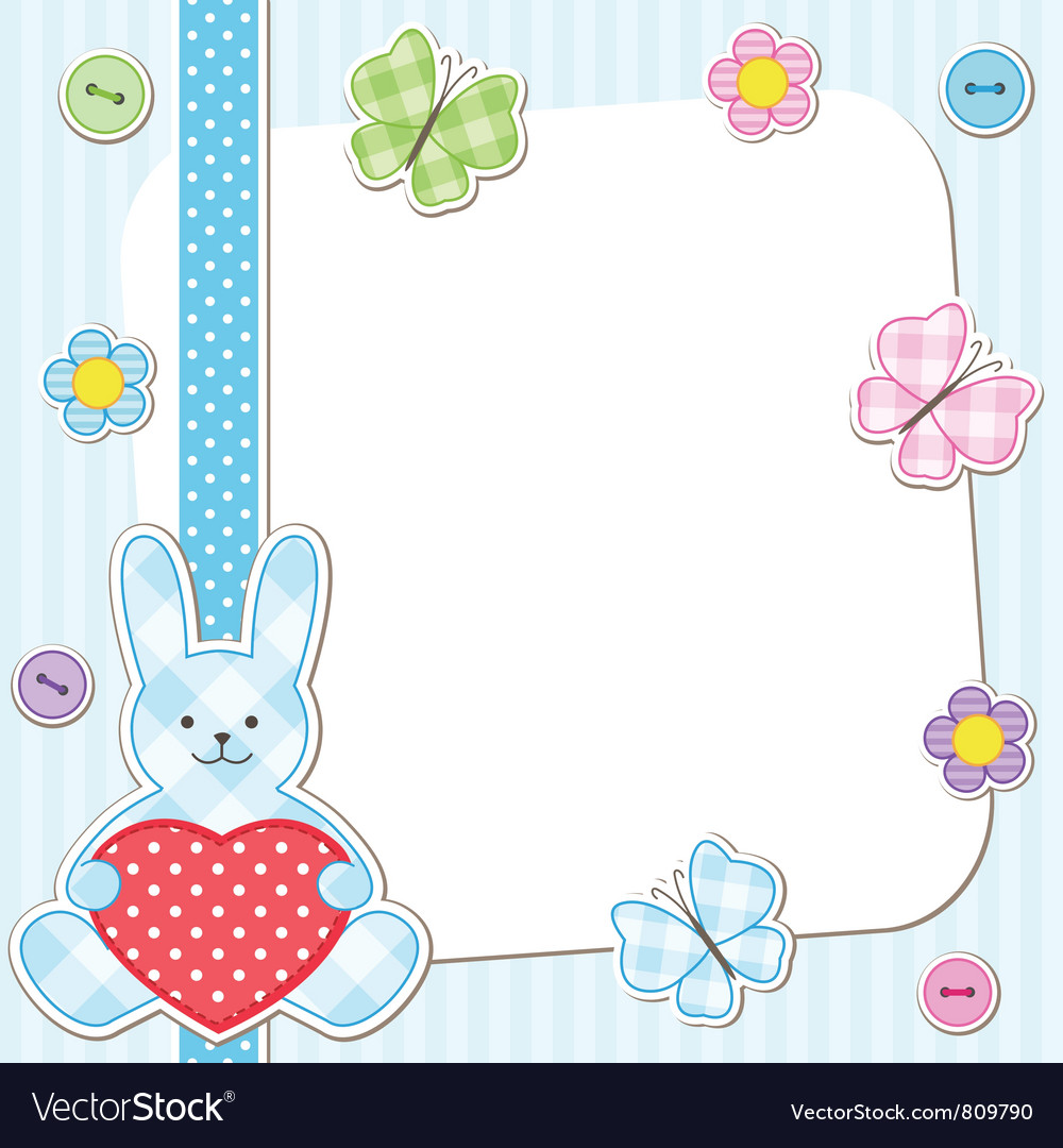 Blue rabbits cards vector image