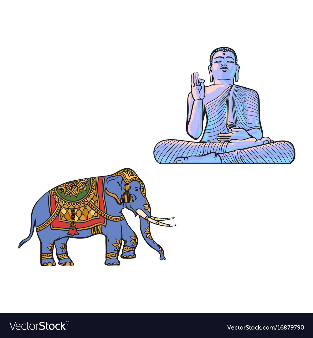 Sketch buddha statue decorated elephant vector image