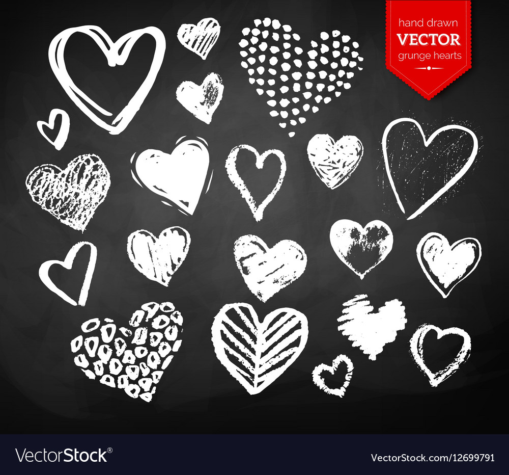Chalk drawn collection of Valentine hearts vector image