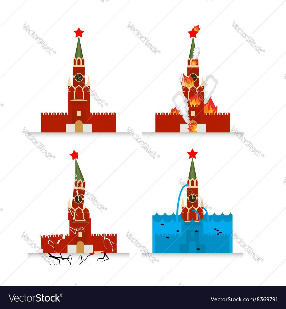 Destruction of Moscow Kremlin Meteorite flies vector image