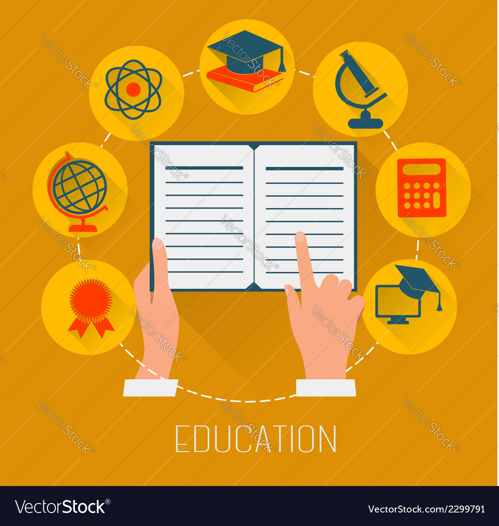 Flat design concept icons for education E-learning vector image