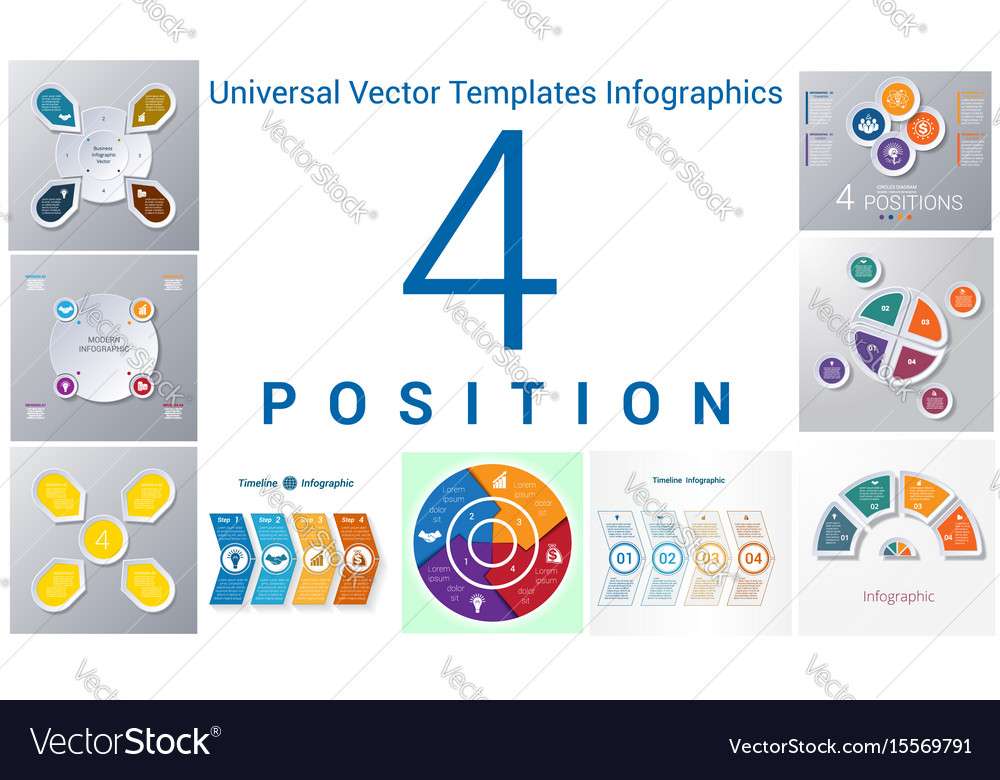 Universal templates set infographics 4 positions vector image