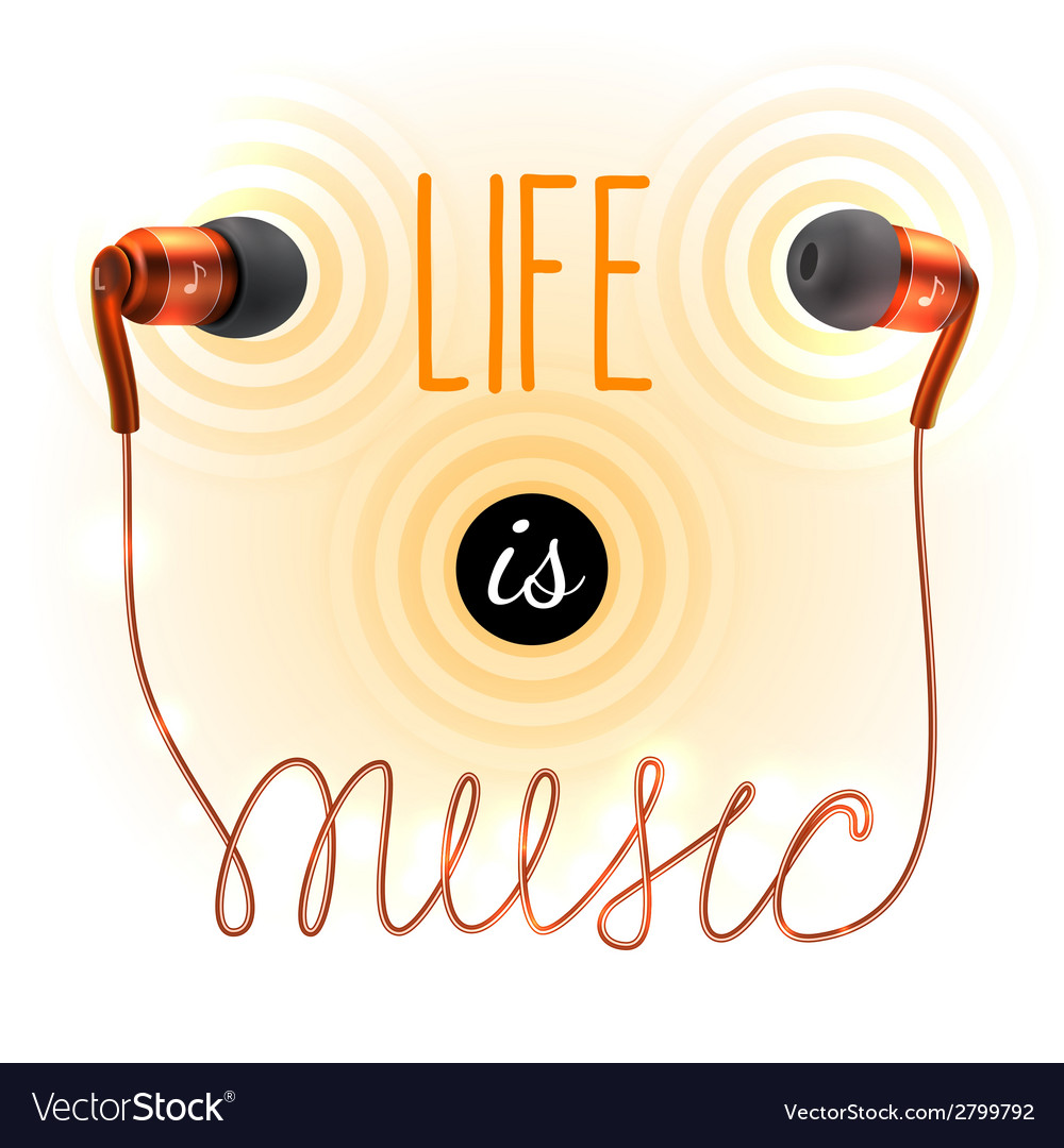 Headphones with music letters vector image