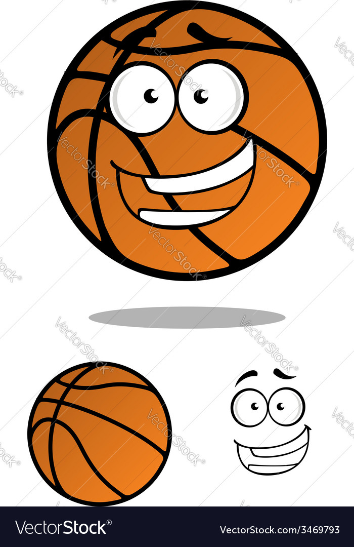 Cartooned basketball ball with smiling face vector image