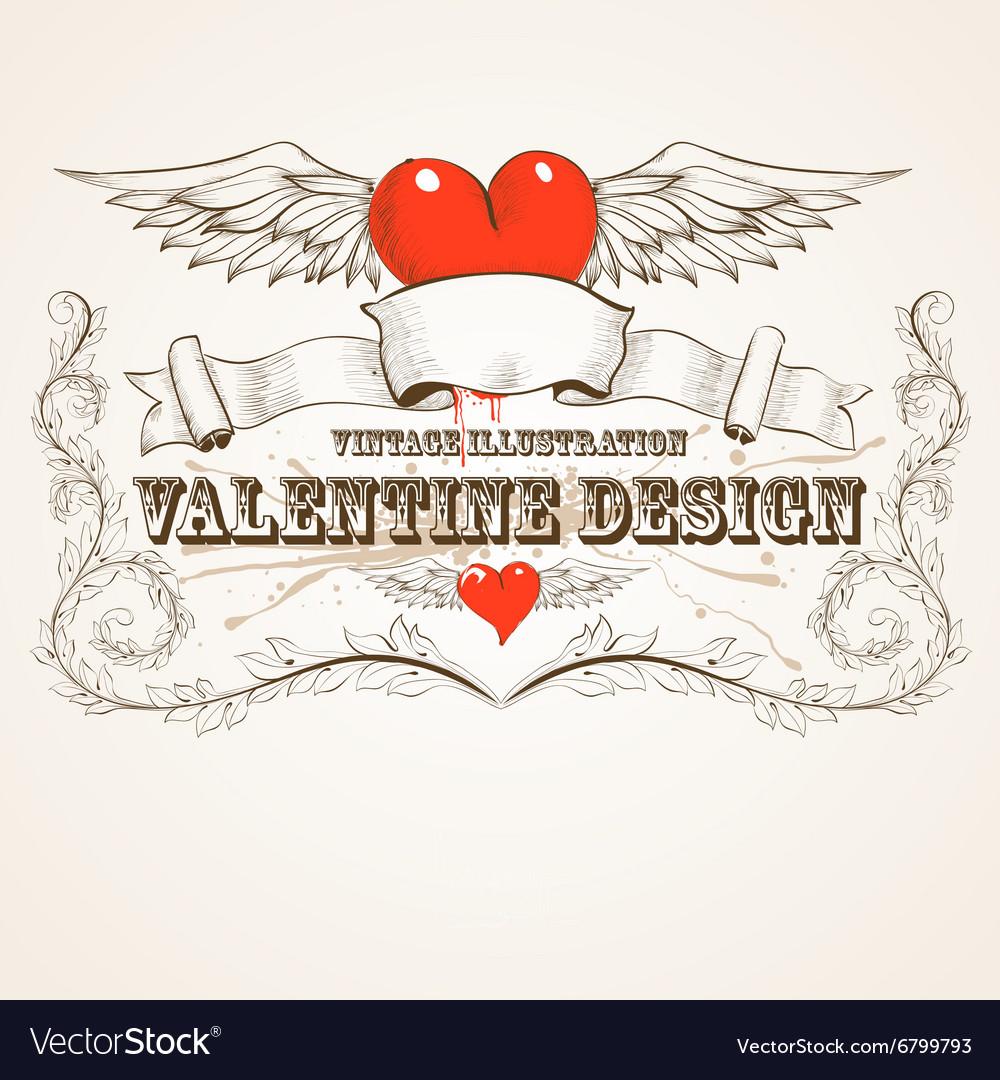 Grunge Valentines Design vector image