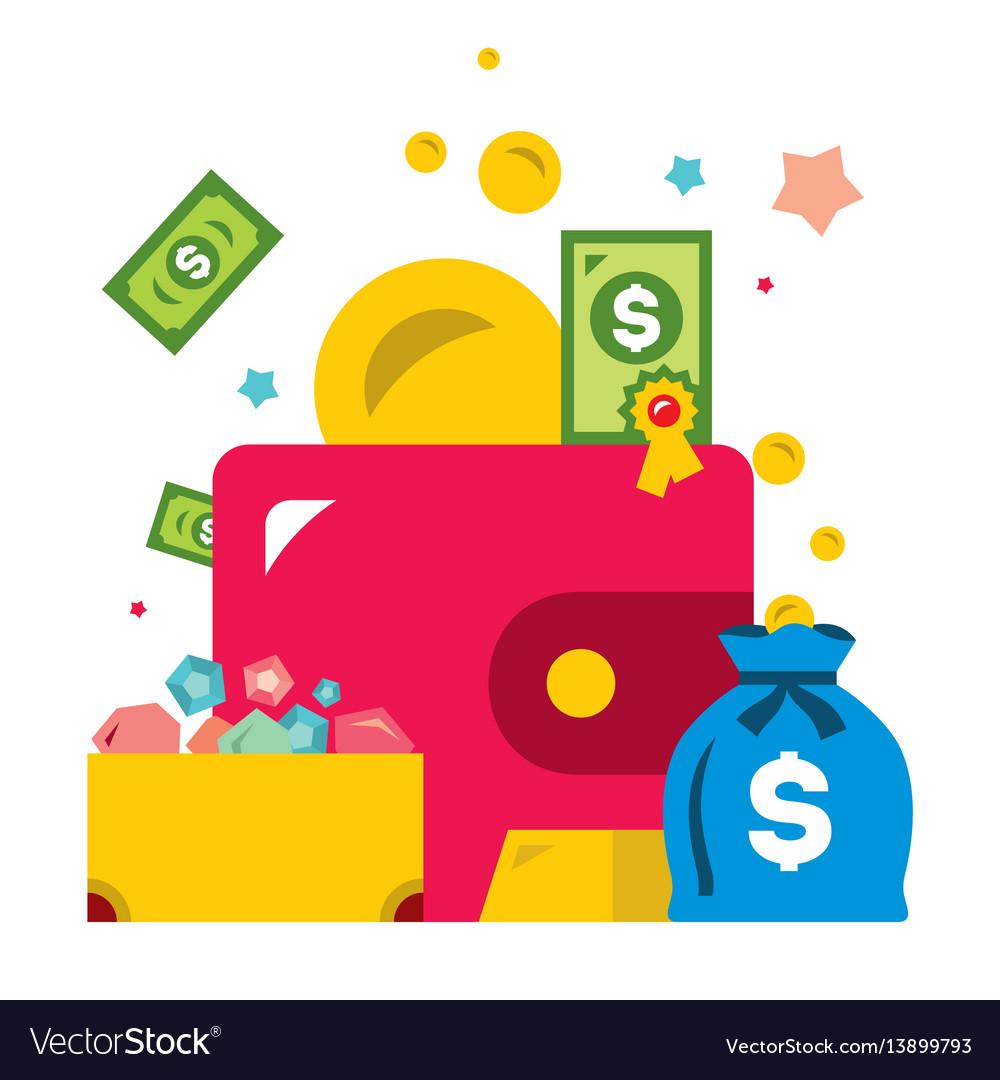 Wealth symbols flat style colorful cartoon vector image