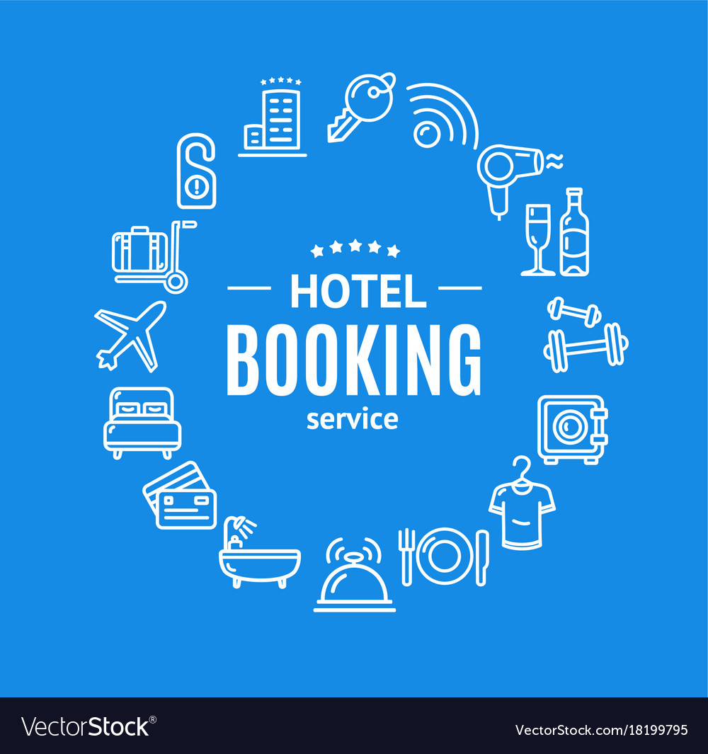 Hotel booking round design template line icon vector image for Hotel booking design