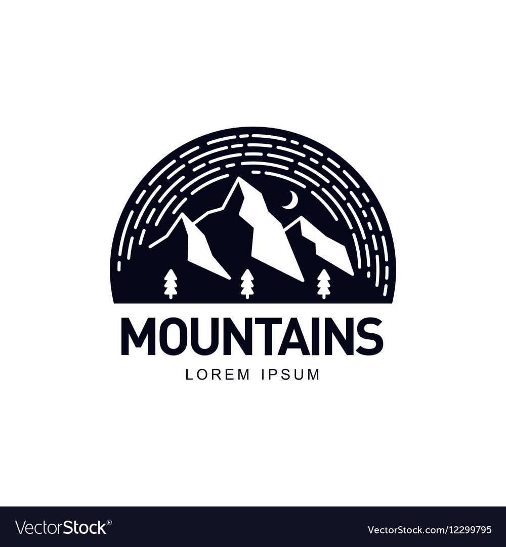 Landscape with mountains trees and night sky in vector image