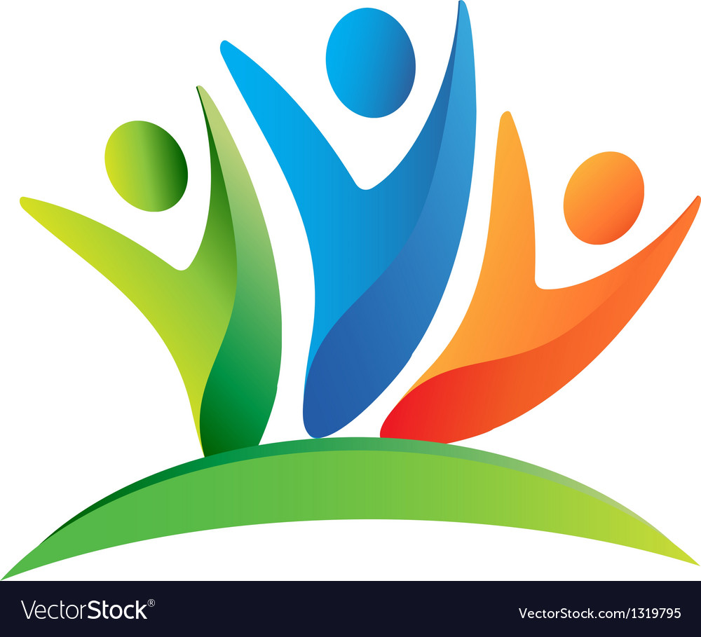 Teamwork happy people logo vector image