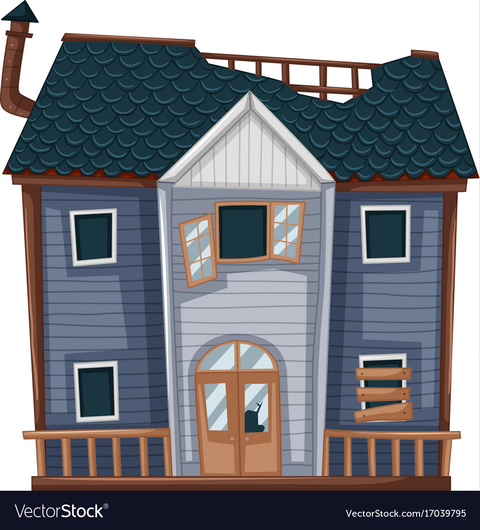 Wooden house with bad condition vector image