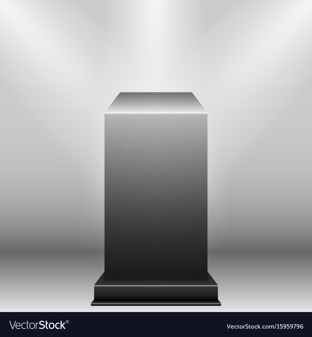 Black pedestal with light source isolated on grey vector image