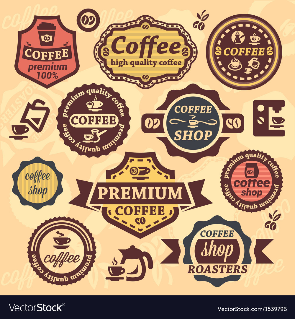 Coffee labels vector image