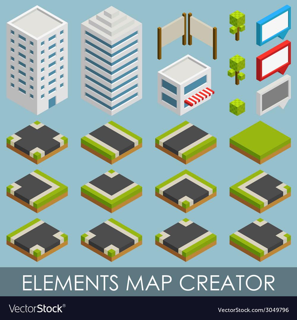 Isometric elements map creator vector image