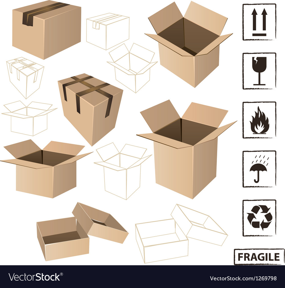 Cardboards with symbols set vector image