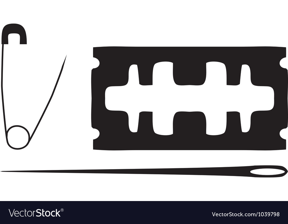 Black silhouette of blade needle safety pin vector image