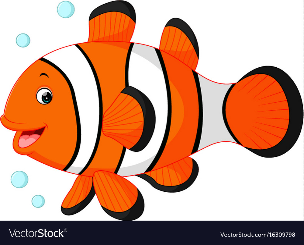 cute clown fish cartoon royalty free vector image clownfish clipart #37 clown fish clip art black and white
