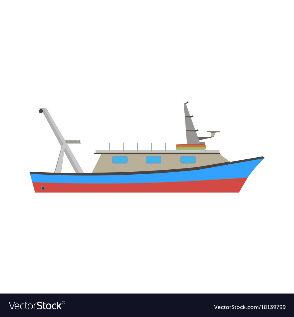 Boat fishing fish sea ship marine flat icon vector image