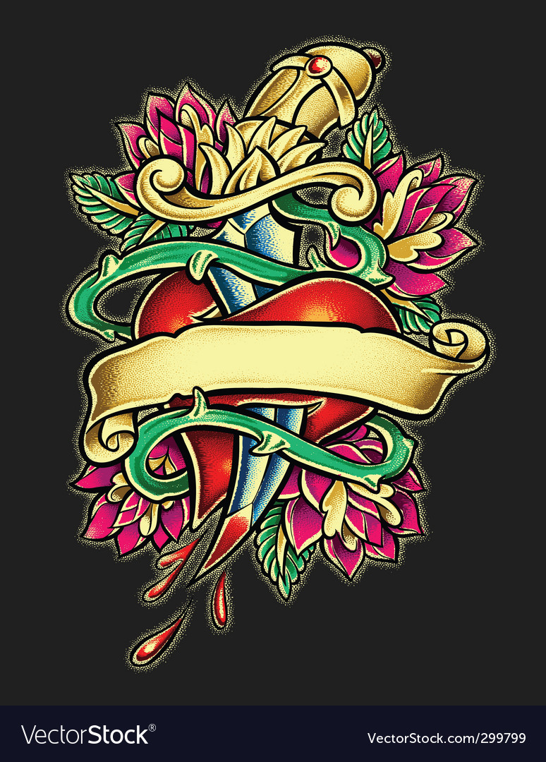 Heart and dagger tattoo illust vector image