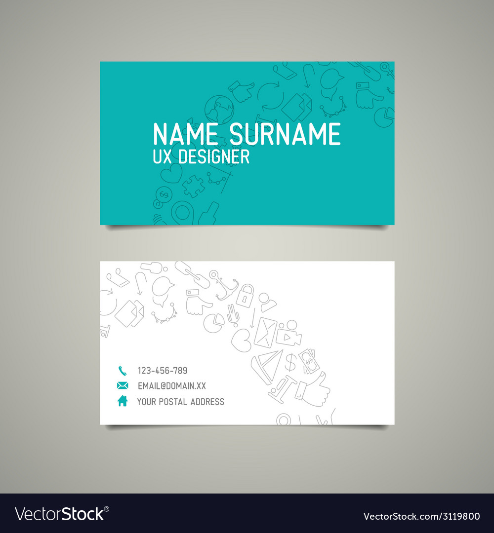 Modern simple business card template for ux Vector Image