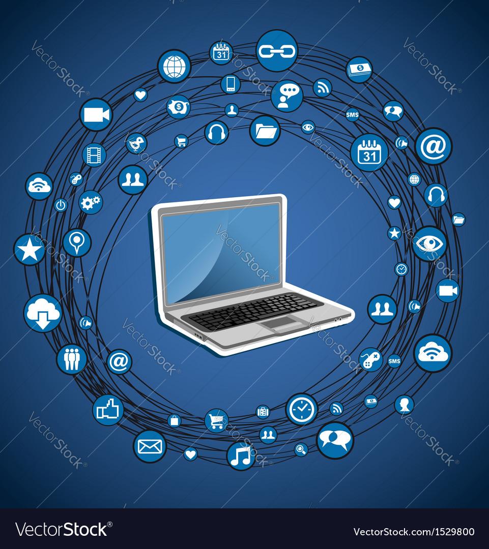 Social media network circle vector image