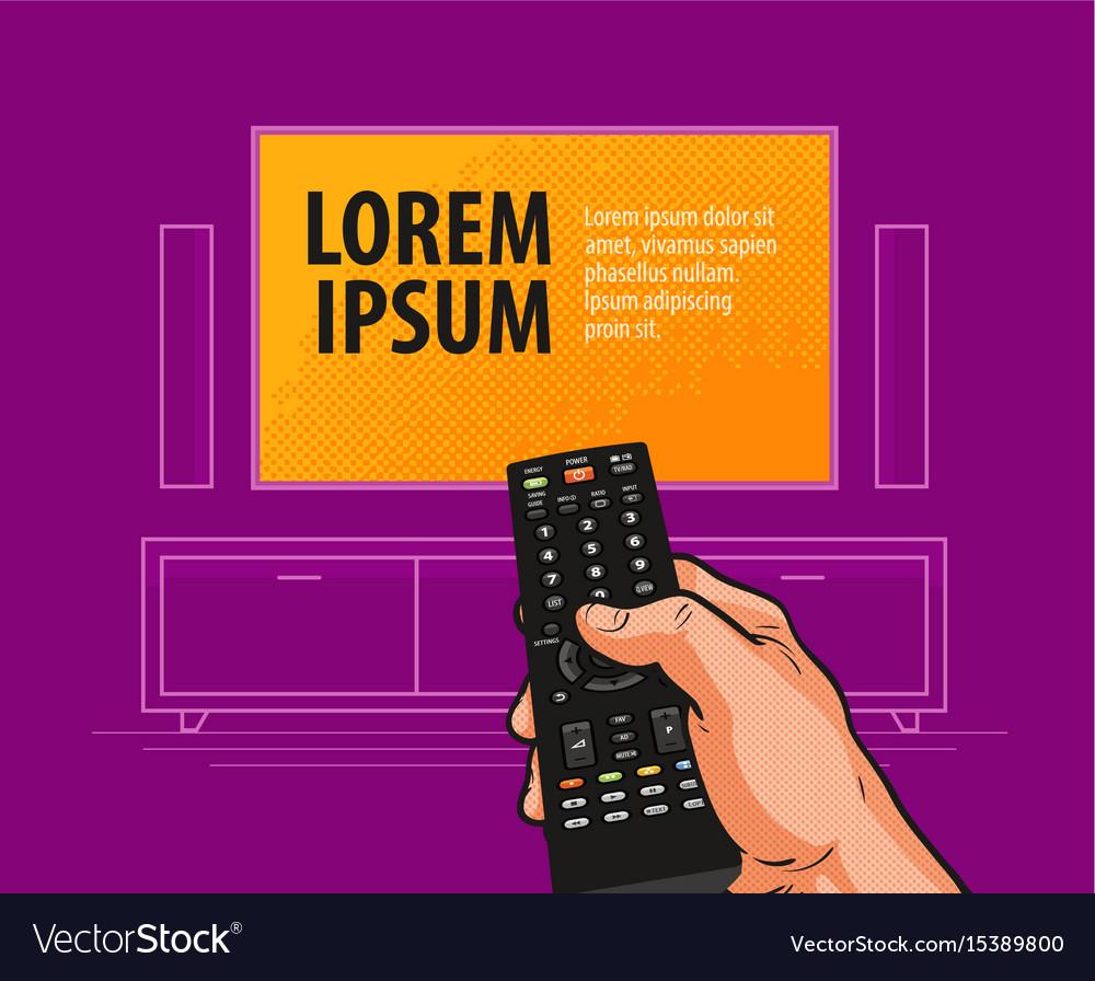 Tv remote control banner video cinema movie vector image