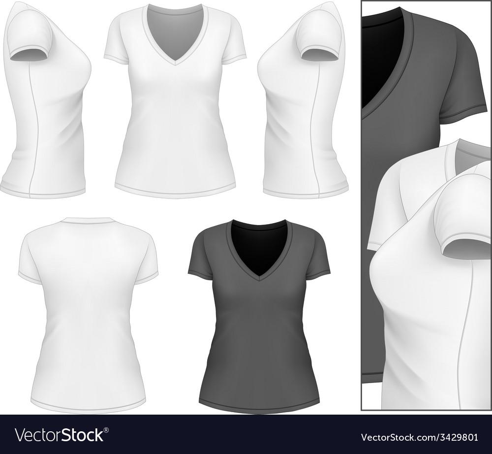 Shirt design womens - Womens V Neck T Shirt Vector Image